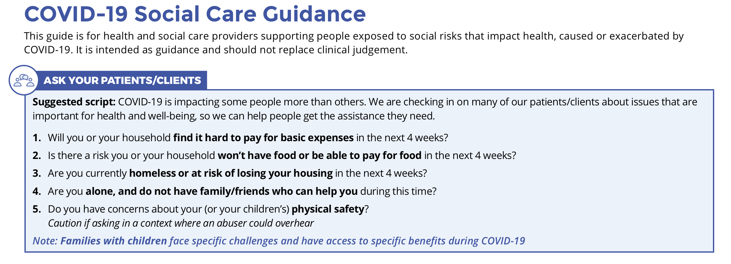COVID-19 Social Care Guidance