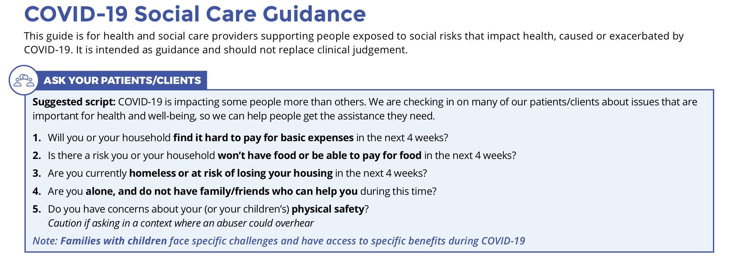 COVID-19 Social Care Guidance